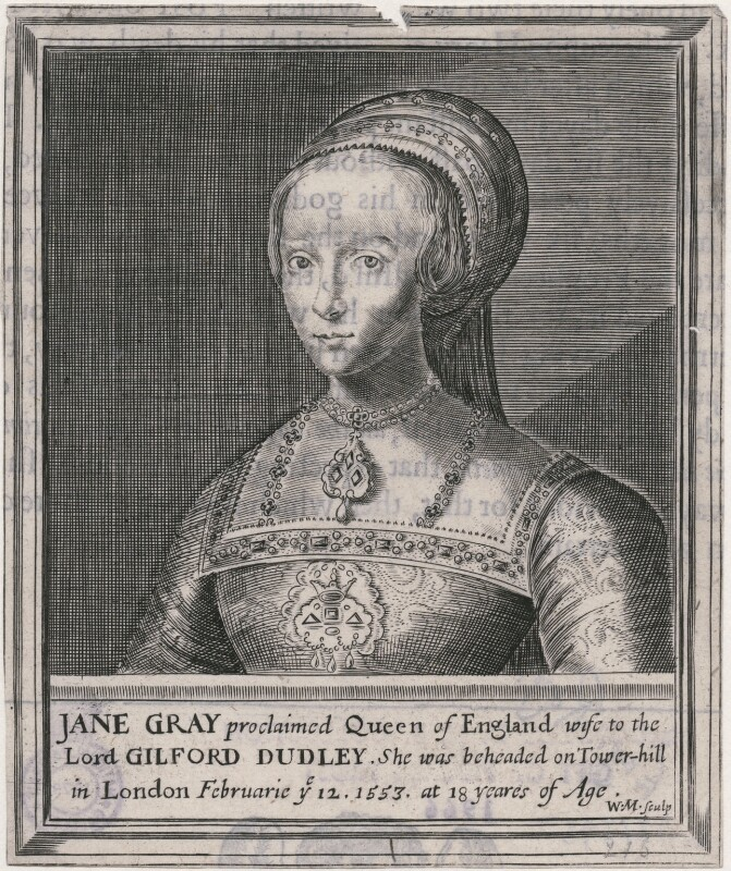 Lady Jane Grey, by William Marshall, after  Magdalena de Passe, after  Willem de Passe, after  Hans Holbein the Younger, published 1648 (published 1620) - NPG D21395 - © National Portrait Gallery, London