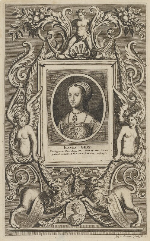 Lady Jane Grey, by Gaspar Bouttats, after  Magdalena de Passe, after  Willem de Passe, 1658? - NPG D21397 - © National Portrait Gallery, London