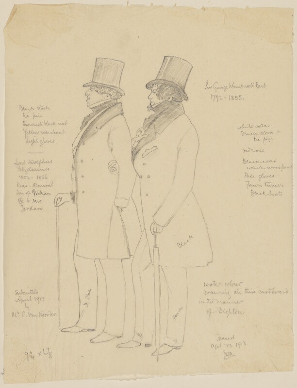 Lord Adolphus Fitzclarence; Sir George Wombwell, 3rd Bt, by James Donald Milner, probably after  Richard Dighton, 23 April 1913 - NPG D21406 - © National Portrait Gallery, London