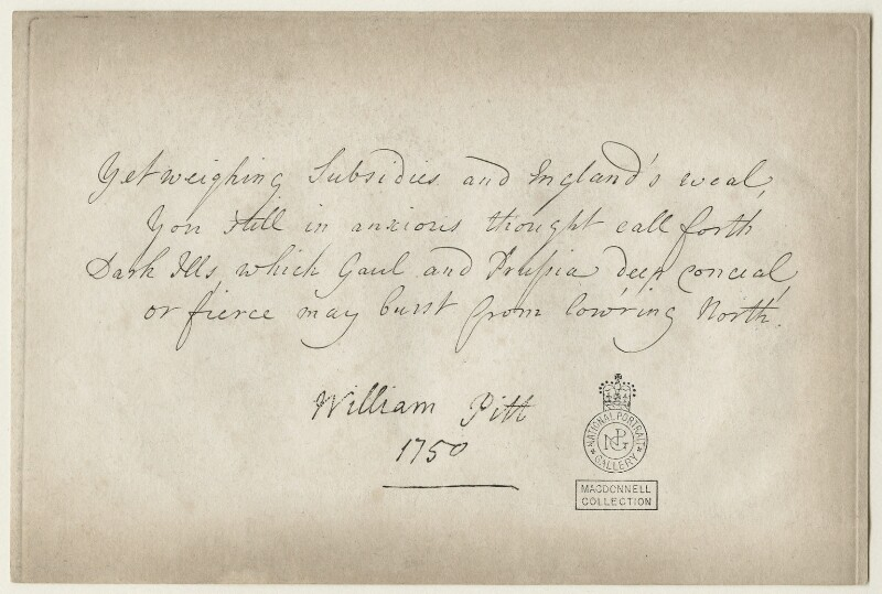 Verse by William Pitt, 1st Earl of Chatham, after William Pitt, 1st Earl of Chatham, (1750) - NPG D21413 - © National Portrait Gallery, London