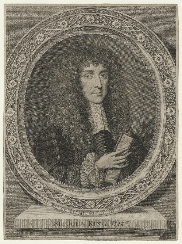 Sir John King, by William Sherwin, after  Unknown artist, late 17th century - NPG D21432 - © National Portrait Gallery, London