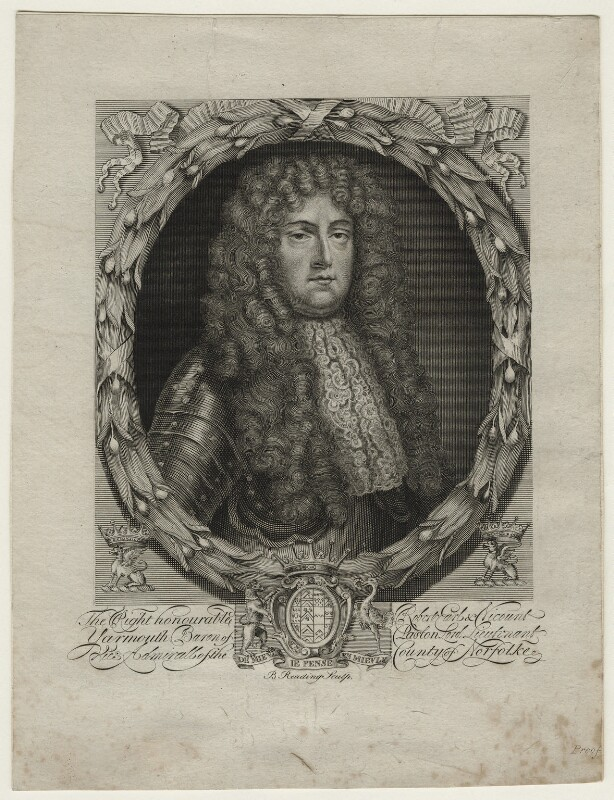 Robert Paston, 1st Earl of Yarmouth, by Burnet Reading, after  Unknown artist, late 18th or early 19th century - NPG D21454 - © National Portrait Gallery, London