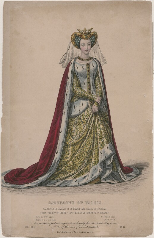 Catherine of Valois, by Edward Hargrave, after  Unknown artist, 1842 - NPG D21551 - © National Portrait Gallery, London