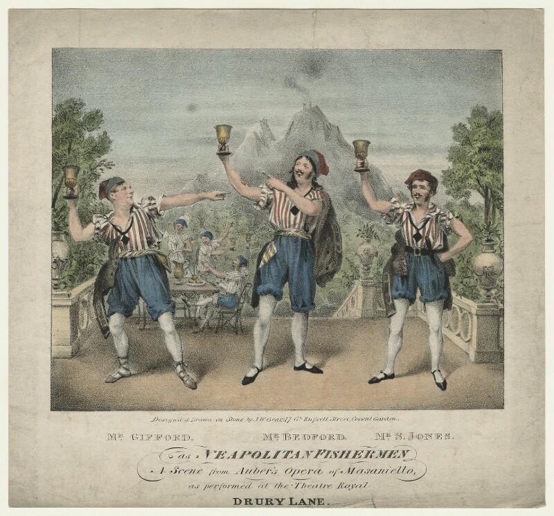 Mr Gifford; Paul John Bedford; Mr S. Jones as Neapolitan Fishermen in 'Masaniello', by John William Gear, circa 1829-1833 - NPG D21562 - © National Portrait Gallery, London