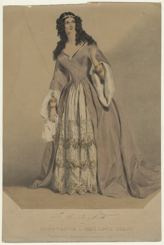 Louisa Cranstoun Nisbett (née Macnamara, later Boothby) as Constance in 'The Love Chase', by William Drummond, after  F.A. MacNamara, published 1838 - NPG D21564 - © National Portrait Gallery, London