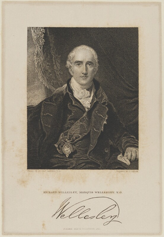 Richard Colley Wellesley, Marquess Wellesley, by G. Adcock, published by  Fisher Son & Co, after  Sir Thomas Lawrence, 1839 - NPG D21599 - © National Portrait Gallery, London