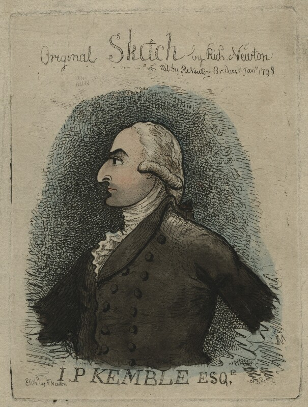John Philip Kemble, by Richard Newton, published January 1798 - NPG D21610 - © National Portrait Gallery, London