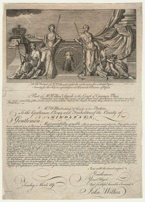 John Wilkes ('Mr Wilkes's address of thanks to his Electors'), by John June, 1768 - NPG D21657 - © National Portrait Gallery, London