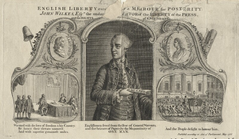 John Wilkes ('English Liberty established or a Mirrour for Posterity'), printed for J. Lee, sold by  John Williams, sold by  J. Kingsberry, published May 1768 - NPG D21661 - © National Portrait Gallery, London