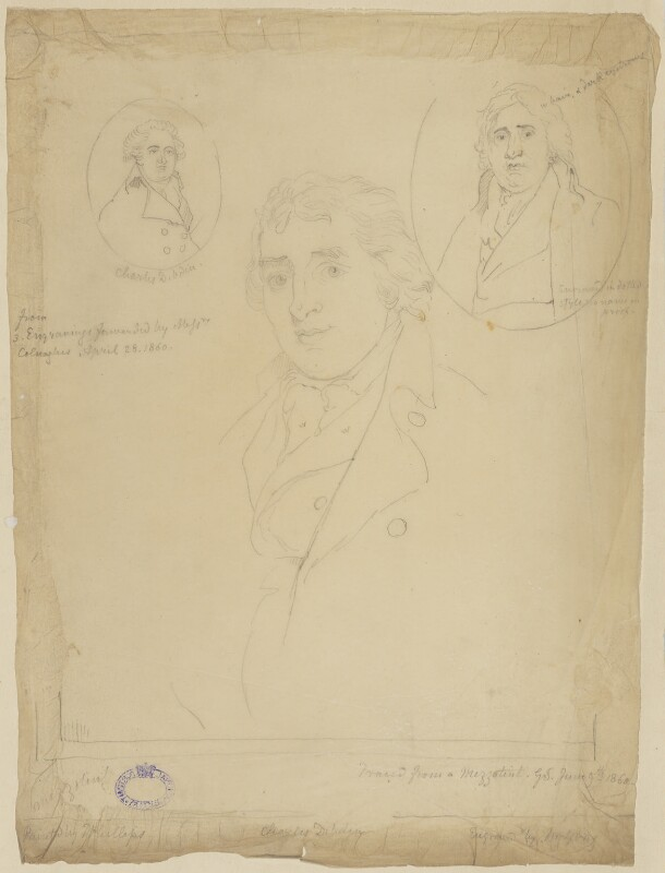Charles Dibdin, by Sir George Scharf, after  Unknown artist, and after  John Young, after  Thomas Phillips, and after  Benjamin Smith, after  Thomas Kearsley, 9 June 1860 - NPG D21672 - © National Portrait Gallery, London