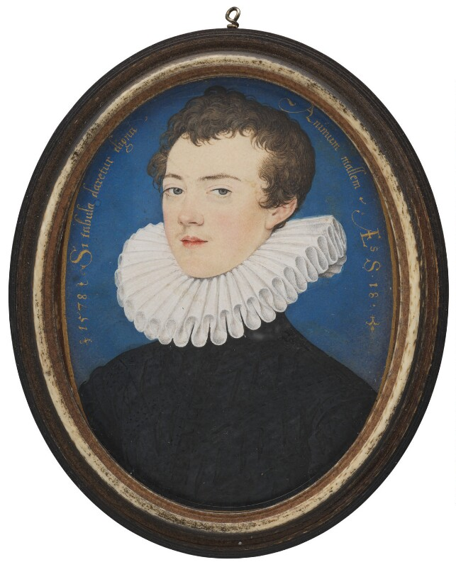 Francis Bacon, 1st Viscount St Alban, by Nicholas Hilliard, 1578 - NPG 6761 - © National Portrait Gallery, London