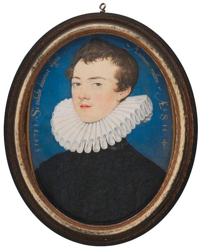 Francis Bacon, 1st Viscount St Alban, by Nicholas Hilliard, 1578 - NPG 6761 - © National Portrait Gallery, London