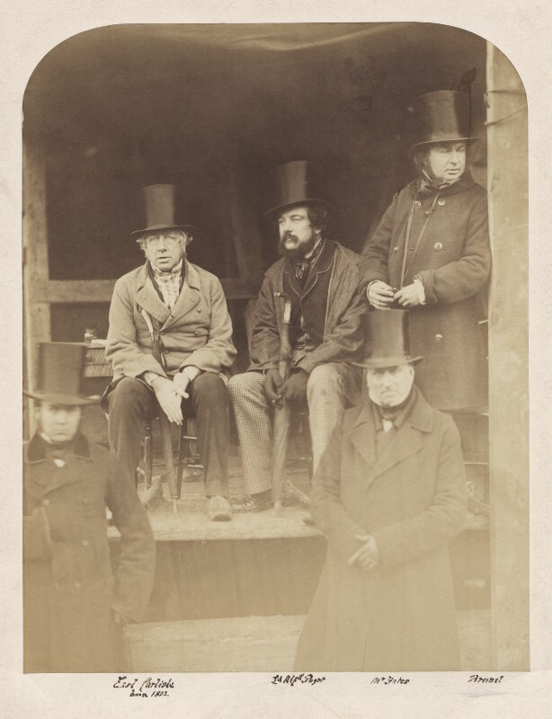 Possibly John Trotman; George William Frederick Howard, 7th Earl of Carlisle; Lord Alfred Henry Paget; John Yates; Isambard Kingdom Brunel, probably by Robert Howlett, circa 1857 - NPG x4994 - © National Portrait Gallery, London