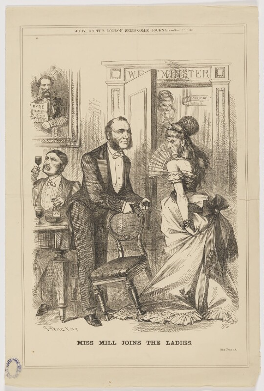 'Miss Mill joins the Ladies' (Edward John Eyre; Robert Wellesley Grosvenor, 2nd Baron Ebury; William Henry Smith; John Stuart Mill), by John Proctor, published in Judy or The London Serio-Comic Journal 25 November 1868 - NPG D22624 - © National Portrait Gallery, London