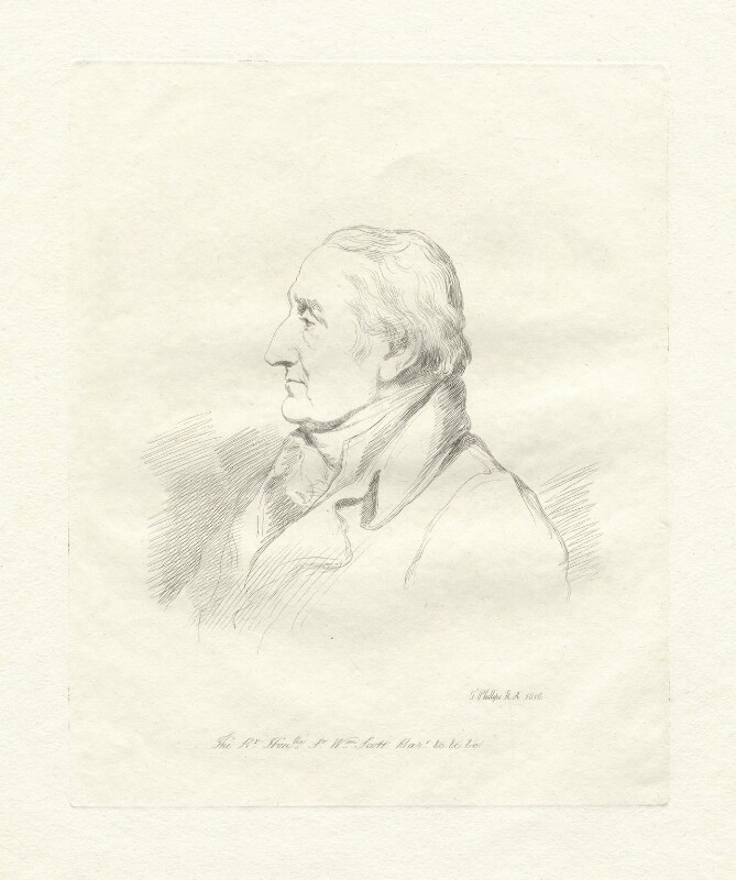 William Scott, Baron Stowell, by Mary Dawson Turner (née Palgrave), after  Thomas Phillips, (1816) - NPG D22596 - © National Portrait Gallery, London