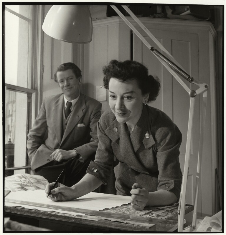Robin Day; Lucienne Day (née Conradi), by John Gay, circa 1951 - NPG x128510 - © National Portrait Gallery, London