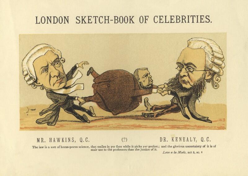 Henry Hawkins, Baron Brampton; Arthur Orton; Edward Vaughan Hyde Kenealy, by Faustin Betbeder ('Faustin'), 1874 - NPG D23025 - © National Portrait Gallery, London