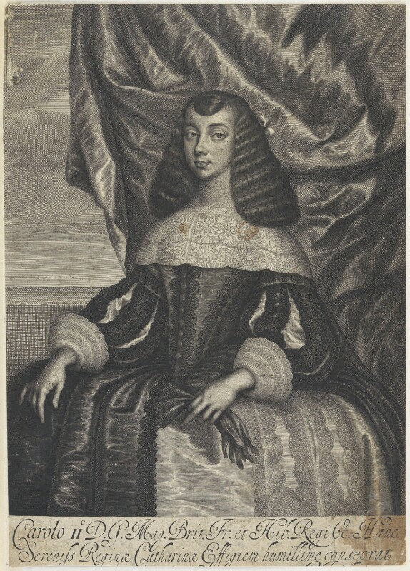 Catherine of Braganza, by William Faithorne, after  Dirk Stoop, 1662 - NPG D22671 - © National Portrait Gallery, London