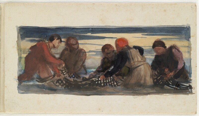 Group of five men working with a net, by Louisa Anne Beresford, 1887 - NPG D23146(6) - © National Portrait Gallery, London