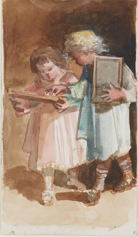 Two unknown children, by Louisa Anne Beresford, 19 October 1887 - NPG D23146(16a) - © National Portrait Gallery, London