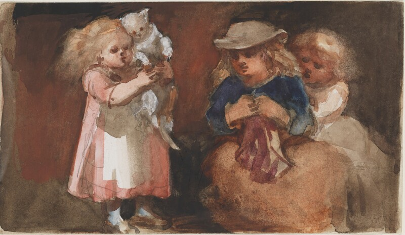 Three unknown children and a cat, by Louisa Anne Beresford, 25 October 1887 - NPG D23146(18) - © National Portrait Gallery, London