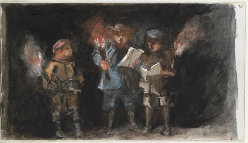 Three unknown children, probably carolers, by Louisa Anne Beresford, 24 December 1887 - NPG D23146(28) - © National Portrait Gallery, London