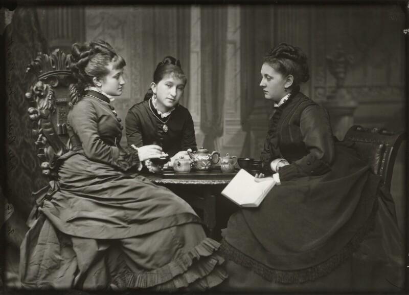 Adelaide Fanny Louise Barber (née Bassano); Camilla Teresa ('Lily') Serjeant (née Bassano); Miss Barnett, by Alexander Bassano, mid 1870s - NPG x150672 - © National Portrait Gallery, London