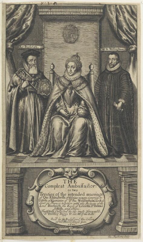 Queen Elizabeth I; William Cecil, 1st Baron Burghley; Sir Francis Walsingham, by William Faithorne, 1655 - NPG D22722 - © National Portrait Gallery, London