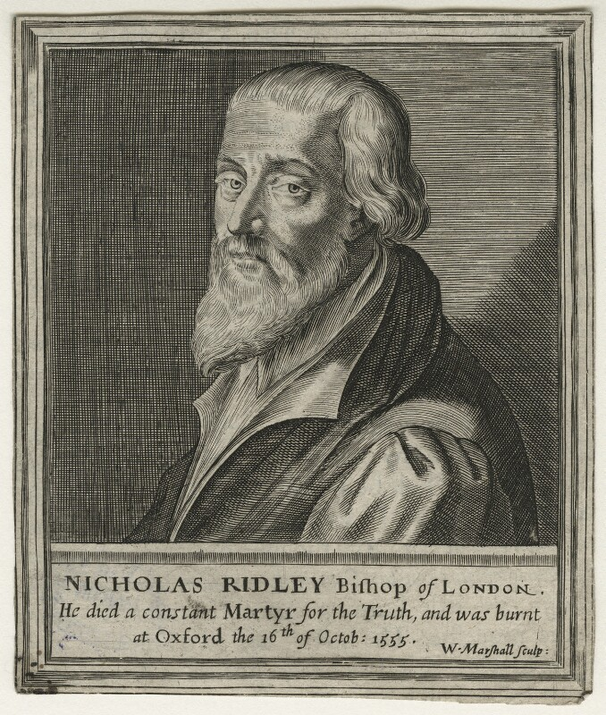Nicholas Ridley, by William Marshall, after  Magdalena de Passe, after  Willem de Passe, published 1648 - NPG D23153 - © National Portrait Gallery, London