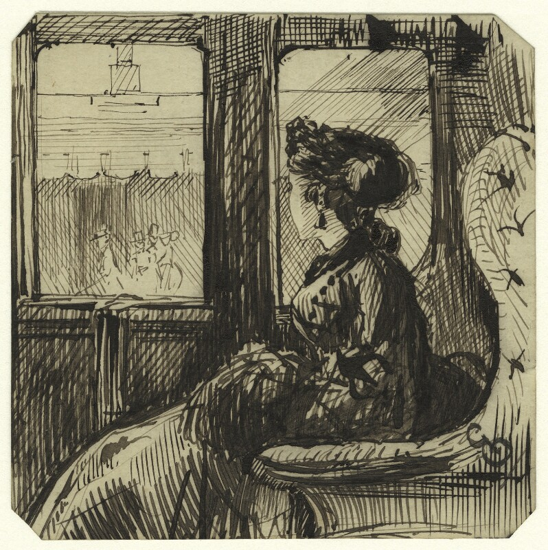 Study of an unknown woman in a train car, by George Estall, late 19th century - NPG D23203 - © National Portrait Gallery, London