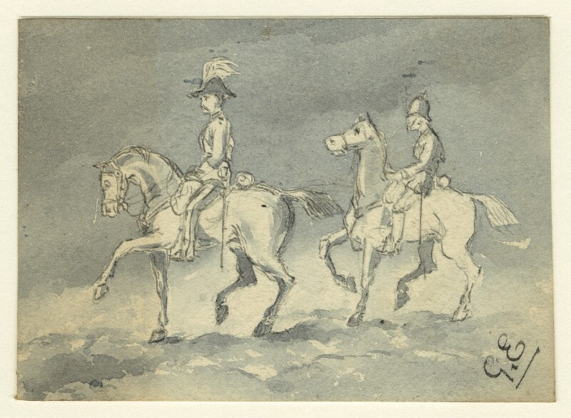 Two unknown soldiers on horseback, by George Estall, late 19th century - NPG D23206 - © National Portrait Gallery, London