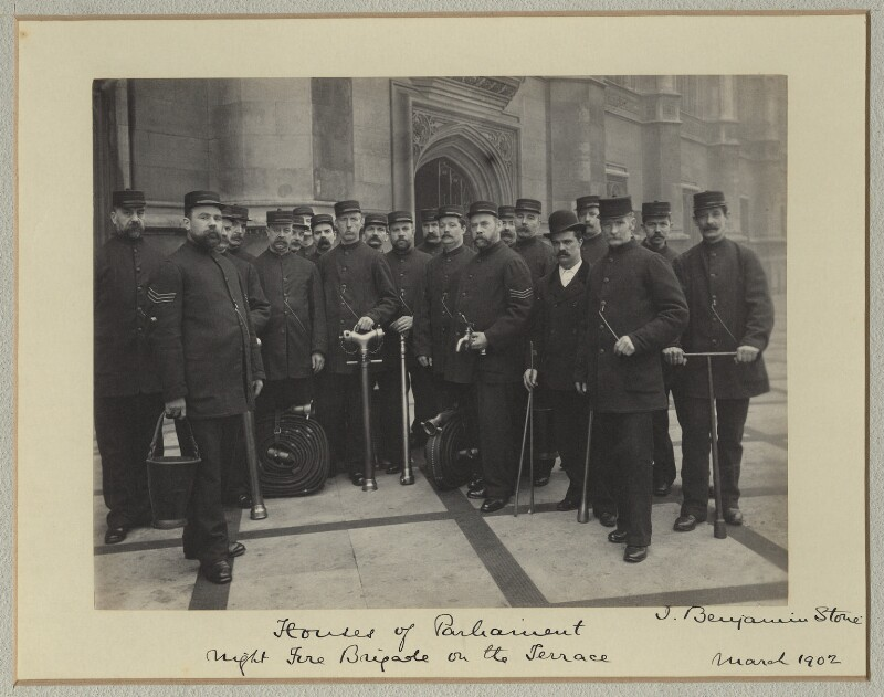 'The Night Fire Brigade', by Benjamin Stone, March 1902 - NPG x128577 - © National Portrait Gallery, London