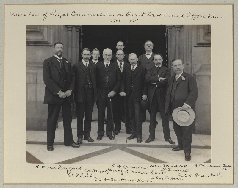 'Members of the Royal Commission on Coast Erosion and Afforestation, 1906-1911', by Benjamin Stone, 1911 - NPG x128582 - © National Portrait Gallery, London