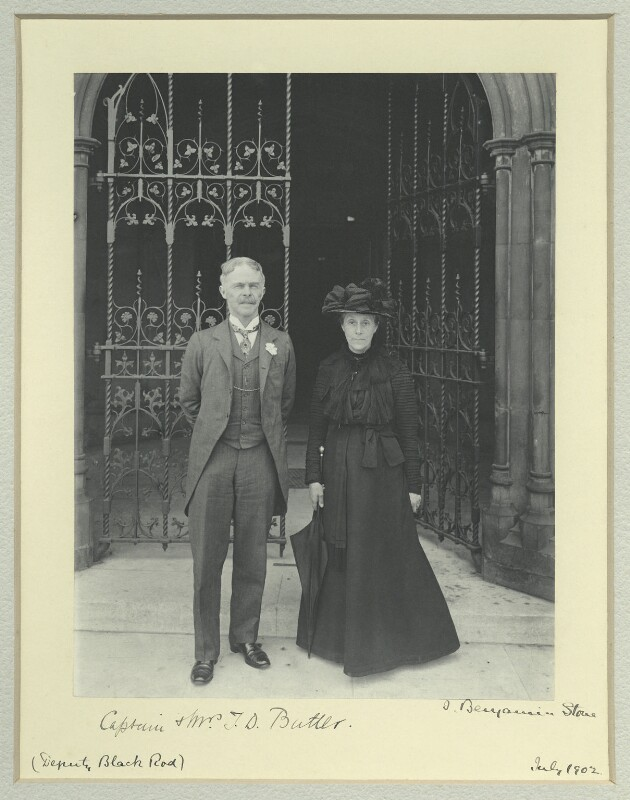 Sir Thomas Dacres Butler; Nina Helen (née Elliot), Lady Butler, by Benjamin Stone, July 1902 - NPG x128584 - © National Portrait Gallery, London