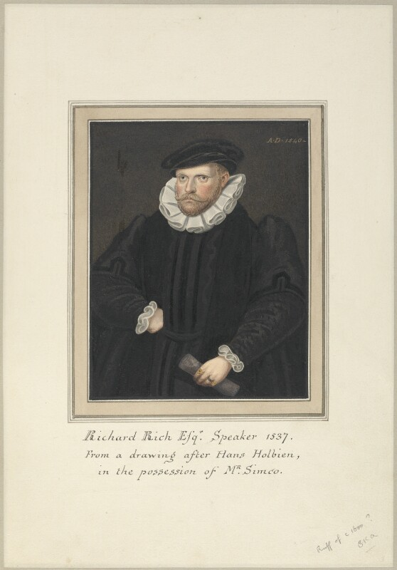 Richard Rich, 1st Baron Rich, attributed to Thomas Athow, after  Unknown artist, possibly after  Hans Holbein the Younger, early 19th century - NPG D23248 - © National Portrait Gallery, London