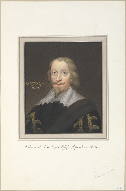 Sir Edward Phelips, attributed to Thomas Athow, after  Unknown artist, early 19th century - NPG D23258 - © National Portrait Gallery, London