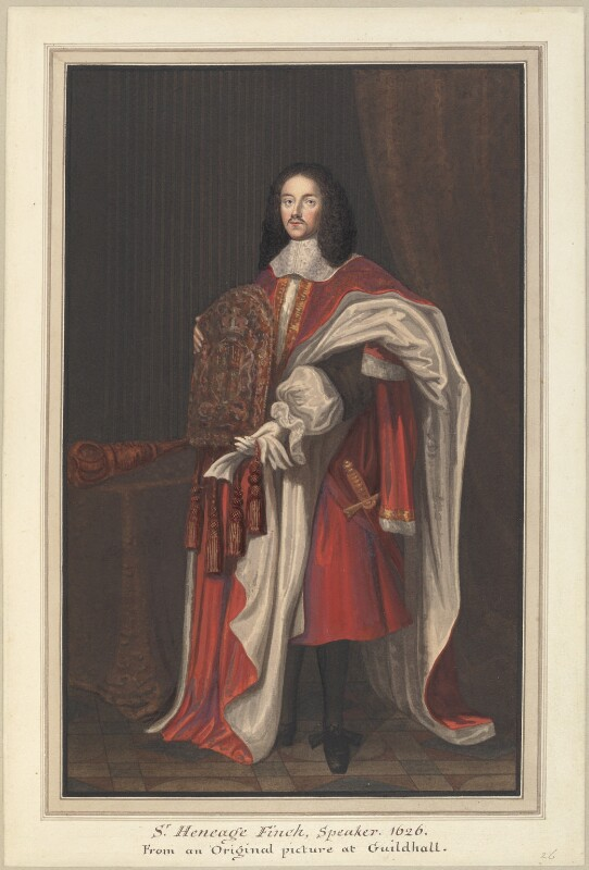 Heneage Finch, 1st Earl of Nottingham, formerly known as Sir Heneage Finch, attributed to Thomas Athow, after  John Michael Wright, early 19th century - NPG D23262 - © National Portrait Gallery, London
