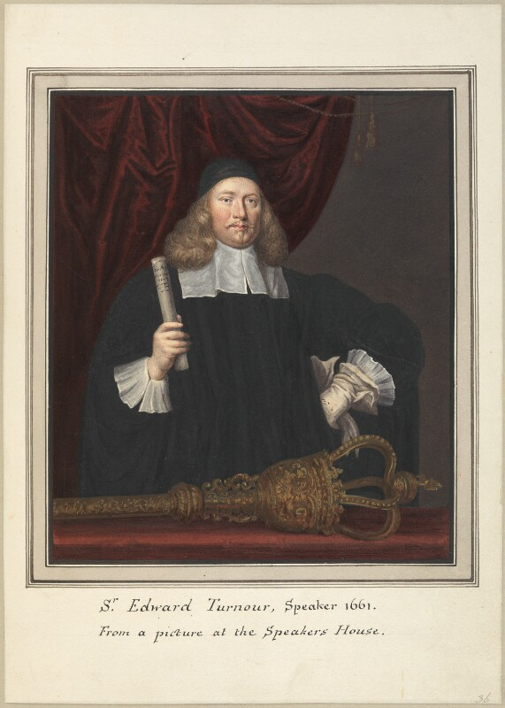 Sir Edward Turnor (Turnour), attributed to Thomas Athow, after  John Michael Wright, early 19th century - NPG D23269 - © National Portrait Gallery, London