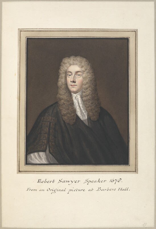 Sir Robert Sawyer, attributed to Thomas Athow, after  Unknown artist, early 19th century - NPG D23271 - © National Portrait Gallery, London