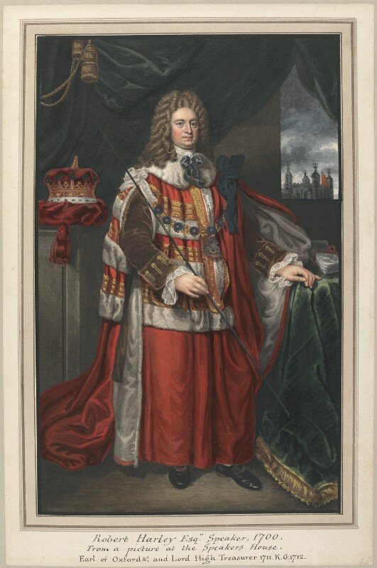 Robert Harley, 1st Earl of Oxford, attributed to Thomas Athow, after  Unknown artist, after  Jonathan Richardson, early 19th century - NPG D23275 - © National Portrait Gallery, London
