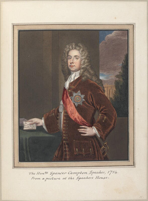 Spencer Compton, Earl of Wilmington, attributed to Thomas Athow, after  Unknown artist, after  Sir Godfrey Kneller, Bt, early 19th century - NPG D23280 - © National Portrait Gallery, London