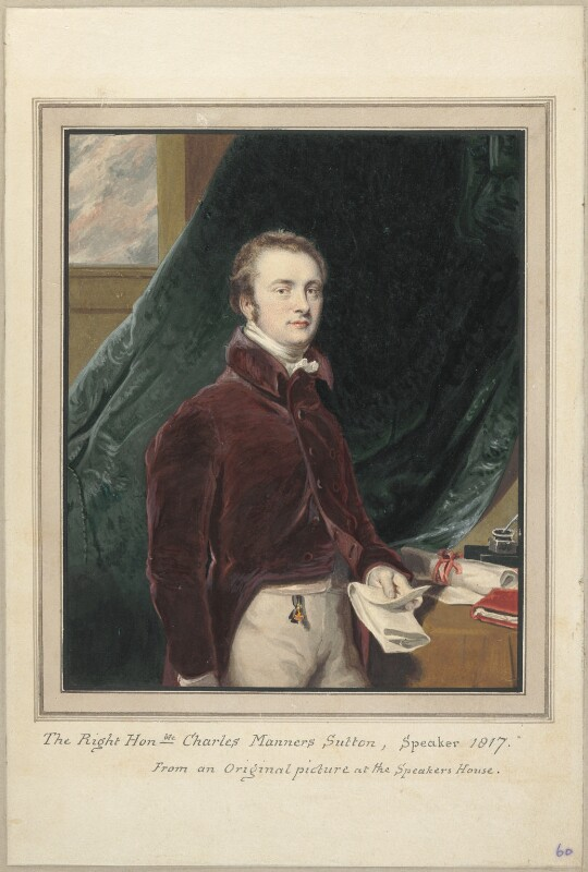 Charles Manners Sutton, 1st Viscount Canterbury, attributed to Thomas Athow, after  Unknown artist, circa 1817 - NPG D23289 - © National Portrait Gallery, London