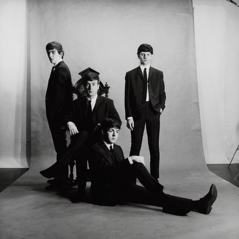 The Beatles (George Harrison; John Lennon; Paul McCartney; Ringo Starr), by Astrid Kirchherr, November 1962 - NPG x128620 - © Astrid Kirchherr / Getty Images