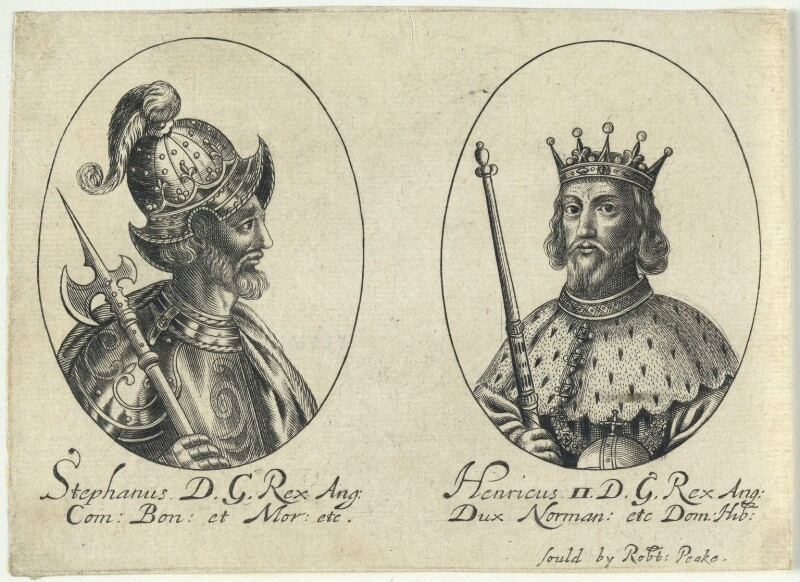King Stephen; King Henry II (fictitious portraits), probably by William Faithorne, published by  Sir Robert Peake, circa 1640 - NPG D22801 - © National Portrait Gallery, London