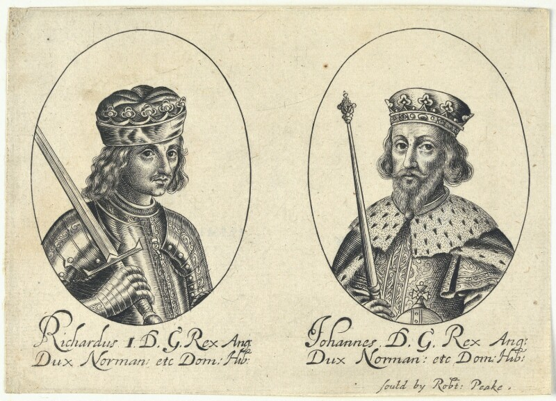 King Richard I ('the Lionheart'); King John (fictitious portraits), probably by William Faithorne, published by  Sir Robert Peake, circa 1640 - NPG D22802 - © National Portrait Gallery, London