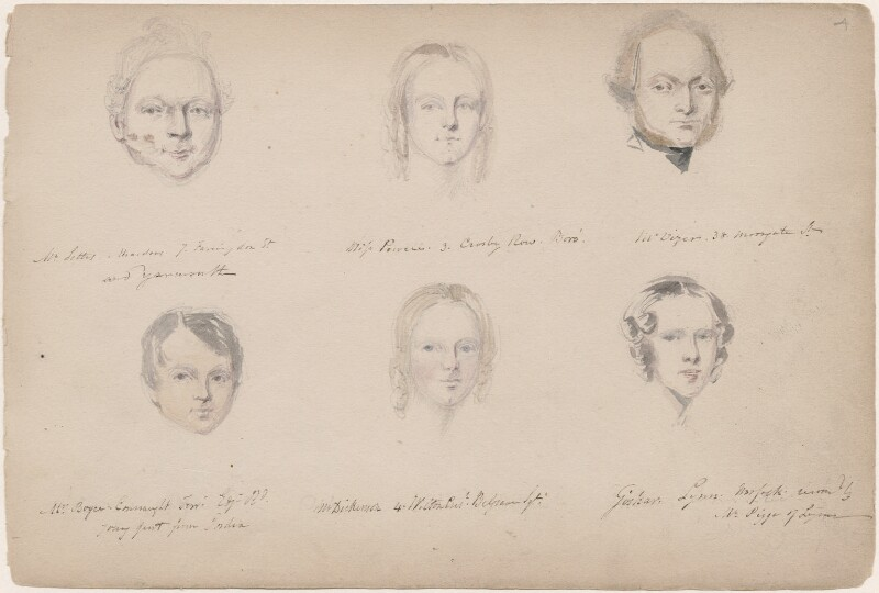 Miss Powell; Mr Vizer; Mr Boyce-Connaught; Miss Dickenson; Mrs Goskar-Lynn and an unknown man, attributed to William Egley, 1839 - NPG D23313(4) - © National Portrait Gallery, London