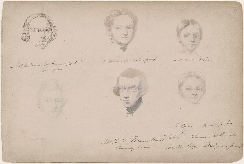 Miss Anderson; G. Mole; Miss Cook; Mr Reid; probably Mrs Cook and an unknown man, attributed to William Egley, before 24 June 1839 - NPG D23313(8) - © National Portrait Gallery, London