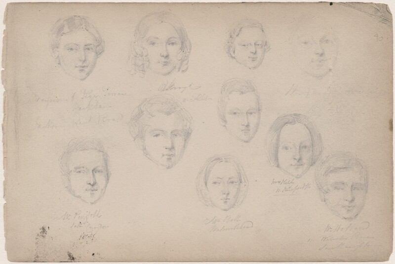 Dayner; W. Penfold; Mrs Bell; Mrs Kelly and six unknown sitters, attributed to William Egley, 1840 - NPG D23313(72) - © National Portrait Gallery, London