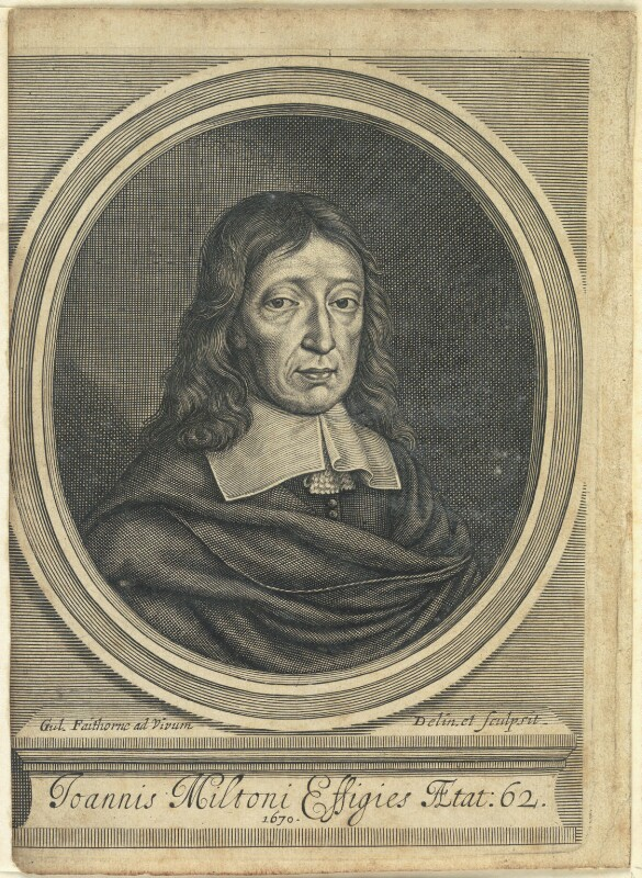 John Milton, by William Faithorne, 1670 - NPG D22857 - © National Portrait Gallery, London