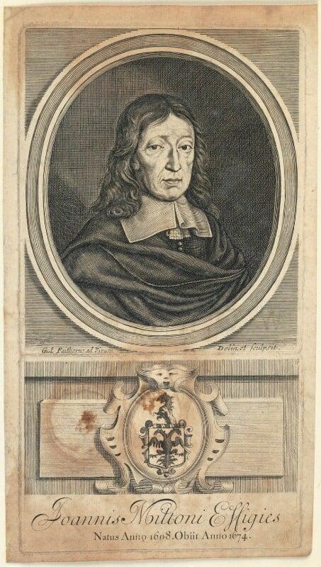 John Milton, by William Faithorne, published 1698 - NPG D22860 - © National Portrait Gallery, London